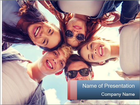 Happy friends, posing for a selfie. PowerPoint Templates