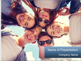 Happy friends, posing for a selfie. PowerPoint Template - Slide 1