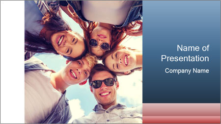 Happy friends, posing for a selfie. PowerPoint Template