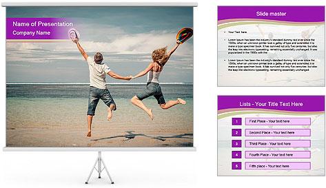 Joyful Couple On Vacation PowerPoint Template