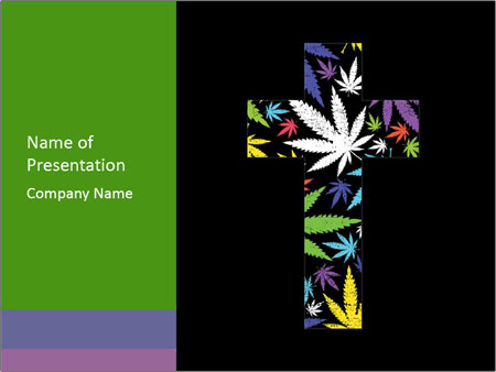 Cross of marijuana on the black background PowerPoint Template