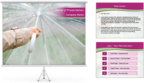 Rain And Umbrella PowerPoint Template