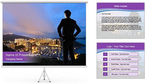 Man Enjoys Sunset PowerPoint Template