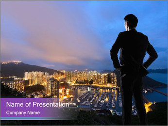 Man Enjoys Sunset PowerPoint Template - Slide 1