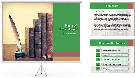 Books And Ink PowerPoint Template