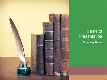 Books And Ink PowerPoint Template - Slide 1