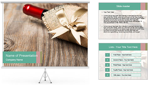 Wine Bottle Gift PowerPoint Template