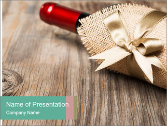 Wine Bottle Gift PowerPoint Templates - Slide 1