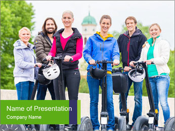 Friends Driving Segway PowerPoint Template - Slide 1