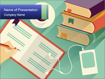 Vector Schoolbooks PowerPoint Templates - Slide 1