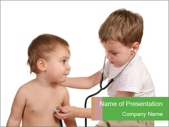 Boys Play Doctors PowerPoint Template - Slide 1