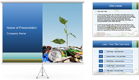 Metalic Can Garbage PowerPoint Template