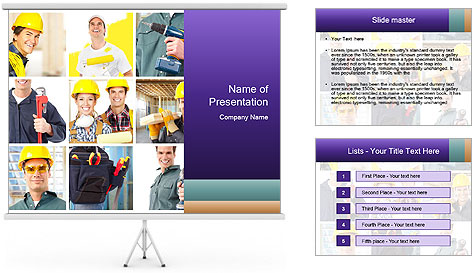 Construction Team Collage PowerPoint Template