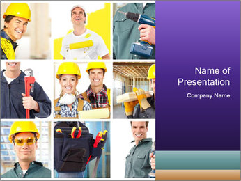 Construction Team Collage PowerPoint Template - Slide 1
