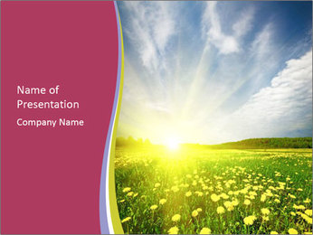 Yellow Summer Field PowerPoint Template - Slide 1