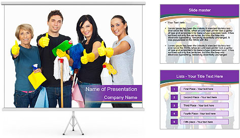 Team Of Female Cleaners PowerPoint Template