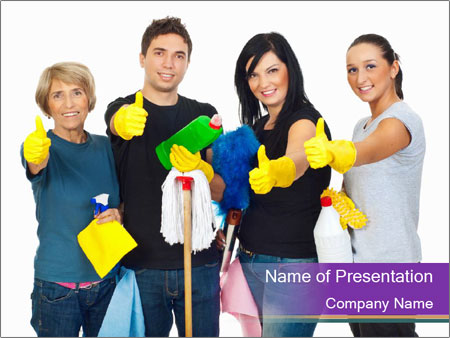 Team Of Female Cleaners PowerPoint Templates