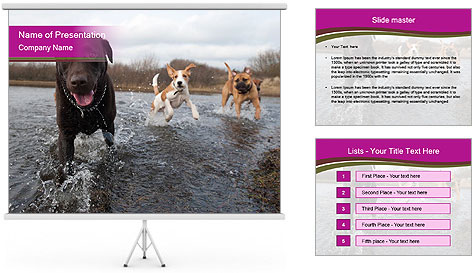 Three Running Dogs PowerPoint Template