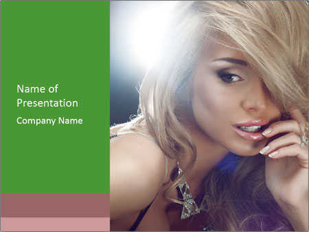 Blond Photo Model PowerPoint Templates