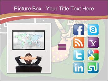 Cartoon Lady Watching TV PowerPoint Templates - Slide 21