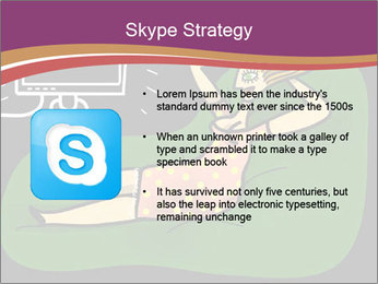 Cartoon Lady Watching TV PowerPoint Templates - Slide 8