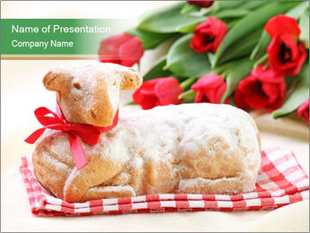 Easter Sheep Cake PowerPoint Template - Slide 1