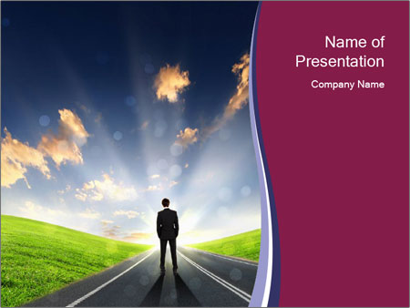 Businessman And Highway PowerPoint Template