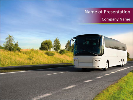 White Tourist Bus PowerPoint Template