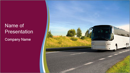 White Tourist Bus PowerPoint Template