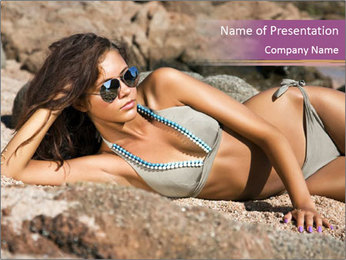 Model Shooting On The Beach PowerPoint Template - Slide 1