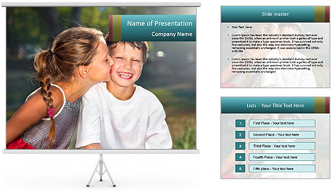 Sister's Kiss PowerPoint Template