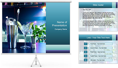 Cocktail With Ice PowerPoint Template