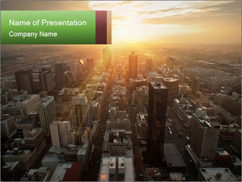 City During Dawn PowerPoint Template