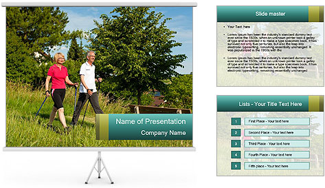 Sporty Retired Couple PowerPoint Template