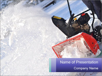 Snow Blowing Machine PowerPoint Template - Slide 1