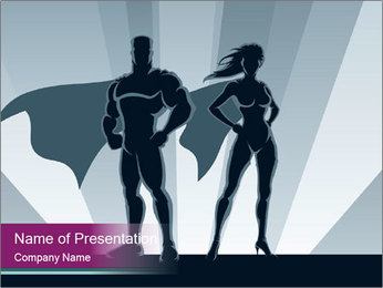 Superhero Woman And Man PowerPoint Templates - Slide 1