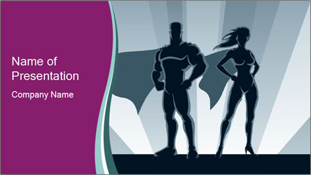 Superhero Woman And Man PowerPoint Template