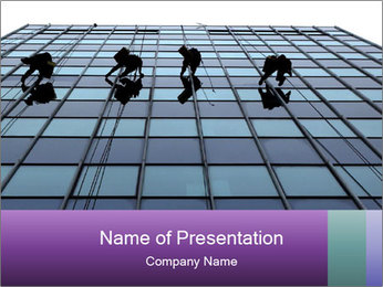 Men Cleaning Building Facade PowerPoint Template - Slide 1