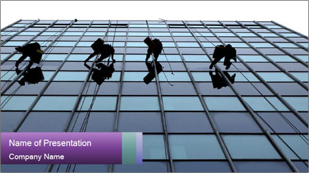 Men Cleaning Building Facade PowerPoint Template