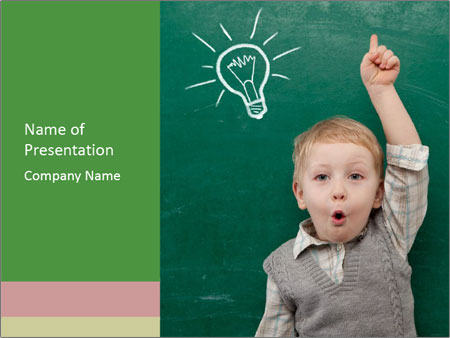 Schoolboy With Fresh Idea PowerPoint Template