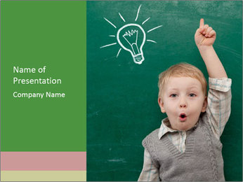 Schoolboy With Fresh Idea PowerPoint Template - Slide 1