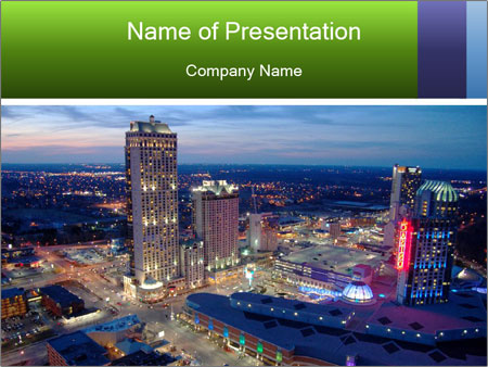 American City At Night PowerPoint Template
