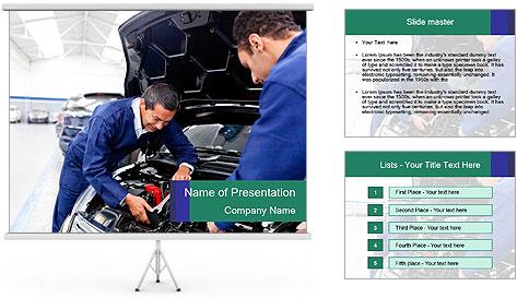 Men Fixing Vehicle PowerPoint Template