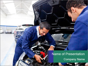 Men Fixing Vehicle PowerPoint Templates - Slide 1