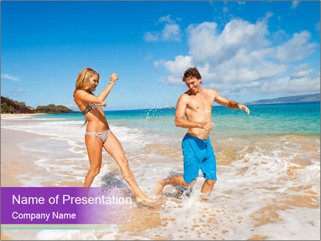 Couple Playing In Water PowerPoint Templates