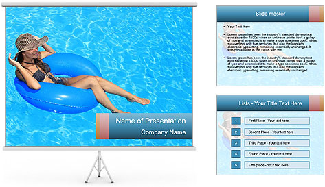 Lady Swimming In Pool PowerPoint Template