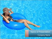 Lady Swimming In Pool PowerPoint Templates