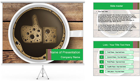 Black Coffee On Wooden Table PowerPoint Template