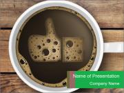 Black Coffee On Wooden Table PowerPoint Templates