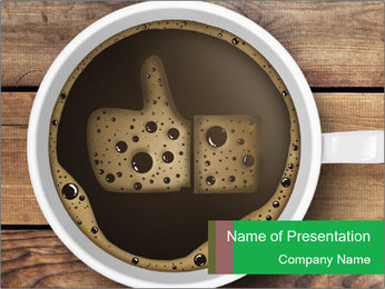 Black Coffee On Wooden Table PowerPoint Template - Slide 1